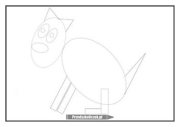 Rysowany wierszyk piesek pies ćwiczenie grafomotoryczne rysowanie po śladzie
